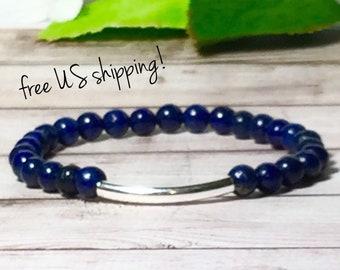 AAA Lapis Lazuli Beaded Bracelet, Gemstone Bracelet, Bead Bracelets Women, Gold, Silver, 6mm Bead Bracelet, DreamCuff Jewelry Free Shippping