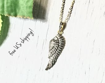 Sterling Silver Wing Pendant Necklace, Diamond Cut Pendant Necklace, Sterling Silver, Necklace Pendant, DreamCuff Jewelry, Free Shipping