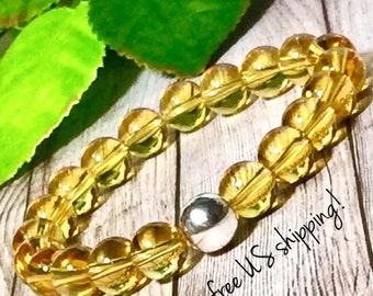 Citrine Gemstone Bracelet, Gemstone Jewelry, Birthstone Bracelet Women, Beaded Bracelet, Silver, Gold, 10mm DreamCuff Jewelry, Free Shipping