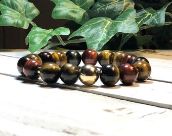 New! Multicolor Tiger Eye Beaded Bracelet, Bead Bracelet, Beaded Bracelets, Stone Bracelets for Women, 12mm, DreamCuff Jewelry Free Shipping