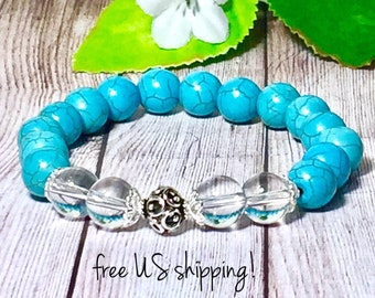 Turquoise Boho Bracelet, Boho Bracelets Women, Boho Jewelry, Beaded Bracelet, Statement Jewelry, 10mm, DreamCuff Jewelry, Free Shipping