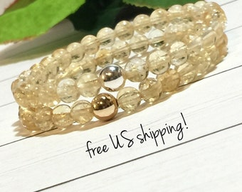 Citrine Gemstone Bracelet, Gemstone Jewelry, Beaded Bracelet, Beaded Bracelets for Women, Silver, Gold, 6mm, DreamCuff Jewelry Free Shipping