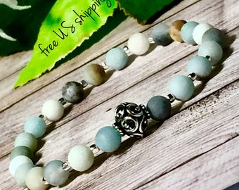Frosted Amazonite Beaded Bracelet, Boho Bracelet, Boho Bracelets for Women Boho Bracelet Sterling Silver 6mm DreamCuff Jewelry Free Shipping