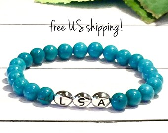 Turquoise Initial Bracelet, Beaded Bracelet Personalized Jewelry Initial Bracelet Women, Gold, Silver, 6mm, DreamCuff Jewelry, Free Shipping