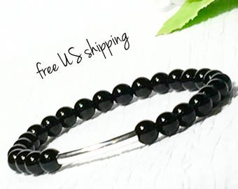 AAA Onyx and Silver Beaded Bracelet, Bead Bracelet Women, Womens Beaded Bracelet, Women, Silver, Gold, 6mm, DreamCuff Jewelry, Free Shipping