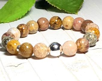 New! Ocean Agate Beaded Bracelet, Bead Bracelet, Beaded Bracelets, Stone Bracelets for Women, 10mm, DreamCuff Jewelry Free Shipping