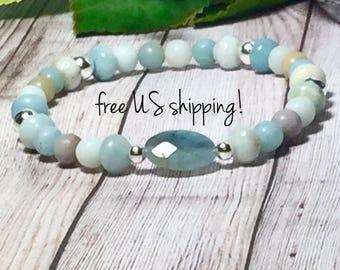 AAA Amazonite Boho Bracelet, Boho Jewelry, Boho Bracelets for Women, Bohemian Bracelet, Bracelet, 8mm, DreamCuff, Free Shipping Jewelry