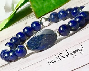 AAA Lapis Gemstone Bracelets for Women, Gemstone Bracelet, Gemstone Jewelry, Beaded Bracelet, Silver, 8mm, DreamCuff, Free Shipping, Jewelry