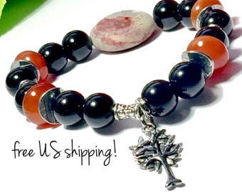 Carnelian Boho Bracelet, Boho Jewelry, Boho Bracelets for Women, Boho Bracelet Gold, Tree of Life, 10mm, DreamCuff Jewelry, Free Shipping