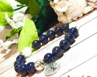 AAA Lapis Boho Bracelet, Boho Bracelets for Women, Bohemian, Beaded Bracelet, Boho, Tree of Life, 10mm, DreamCuff, Free Shipping, Jewelry