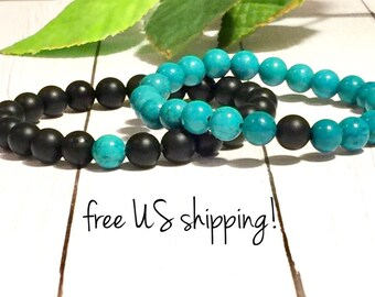 Turquoise & Black Beaded Bracelets Distance Bracelets for Friends Distance Bracelets for Couples Gift 8mm DreamCuff Jewelry Free Shipping
