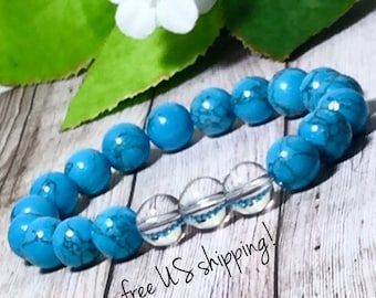 Turquoise & Crystal Quartz Gemstone Bracelet Gemstone Bracelets for Women Beaded Bracelet Bead Bracelet 10mm Dreamcuff Jewelry Free Shipping
