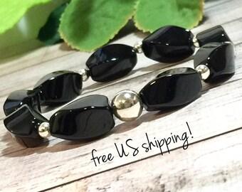 Onyx Gemstone Bracelet, Gemstone Jewelry, Beaded Bracelet, Beaded Bracelets for Women, Silver, Gold, 10mm, DreamCuff Jewelry Free Shipping