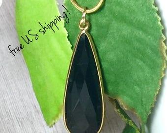 Onyx Gemstone Necklace, Gemstone Jewelry, Gemstone Pendant Necklace Gold, Gemstone, Necklace, Gold, Pendant, DreamCuff Jewelry Free Shipping