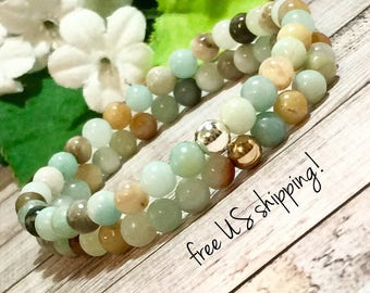 Amazonite Beaded Bracelet, Handmade Jewelry, Delicate Beaded Bracelet, Bead Bracelet Women, Gold, Silver 6mm DreamCuff Jewelry Free Shipping