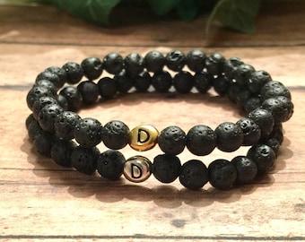 Black Lava Rock Initial Bracelet, Personalized Bracelet, Initial Bracelet Men, Women, Gold Silver 6mm Bead Bracelet DreamCuff Free Shipping!