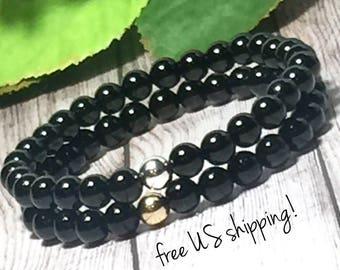 AAA Black Onyx Beaded Bracelets Set, Beaded Bracelets Stack, Beaded Bracelets, Stack, Stone Bracelets Set, for Women, 6mm, DreamCuff Jewelry