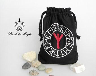 c544f61e731e Embroidered rune pouch. Rune Algiz. Rune bag. Runic divination. Pagan.  Wiccan. Magic accessories. Asatru. Odinism. Gift for viking. Celtic
