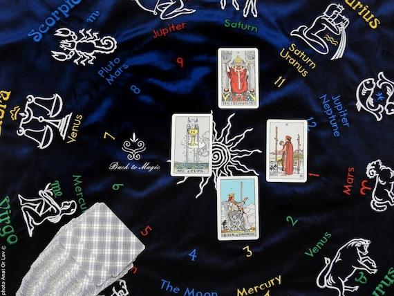 Dark blue velvet embroidered Tarot cloth  Tarot divination cloth   Occultism  Astrological Tarot cloth  Witchcraft  Zodiac signs  Altar cloth