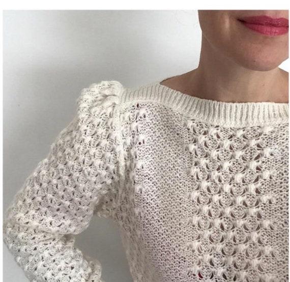 Ivory soft mohair blend vintage puff shoulder swe… - image 1