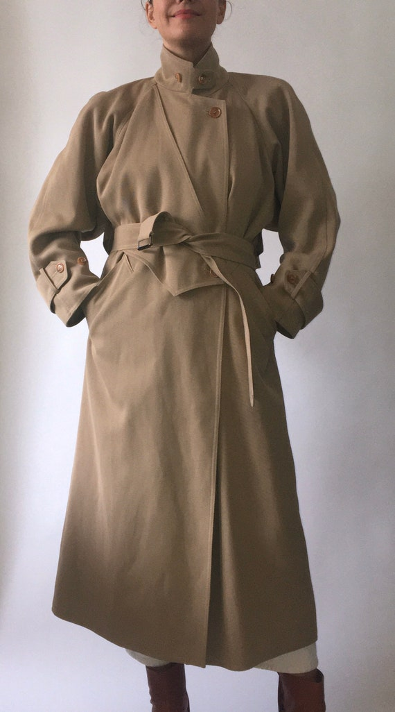 80s Wallis gaberdine angular belted trench coat 10 - image 2