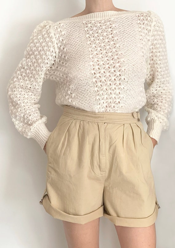 Ivory soft mohair blend vintage puff shoulder swe… - image 3