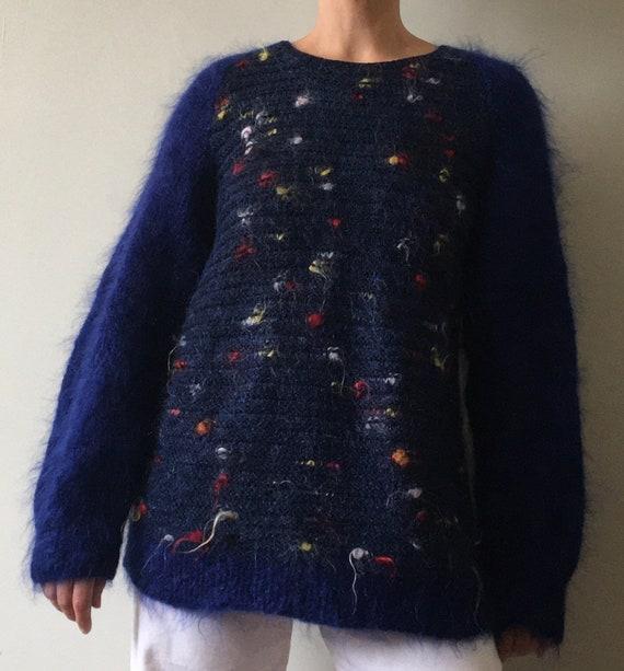 Dark blue firework vintage hand knitted mohair ju… - image 6