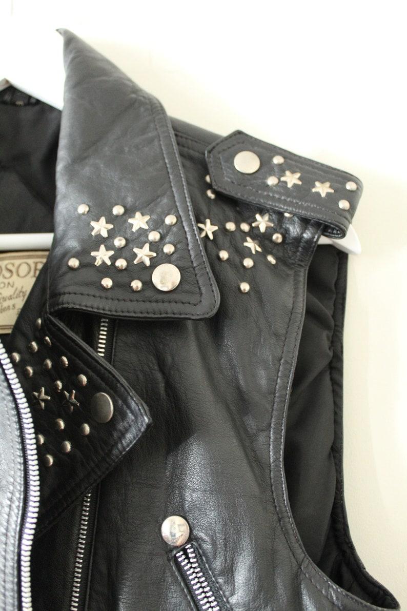 80s black studded leather British biker waistcoat