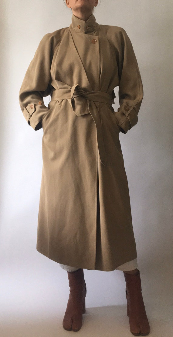 80s Wallis gaberdine angular belted trench coat 10 - image 5