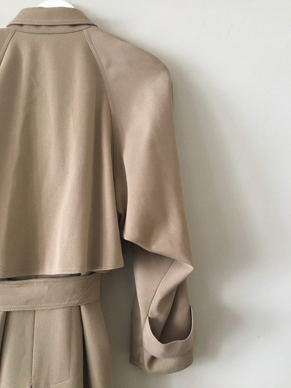 80s Wallis gaberdine angular belted trench coat 10 - image 10