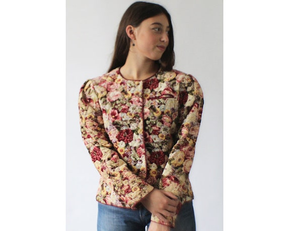 Vintage 80s romantic floral cord cropped puff shou