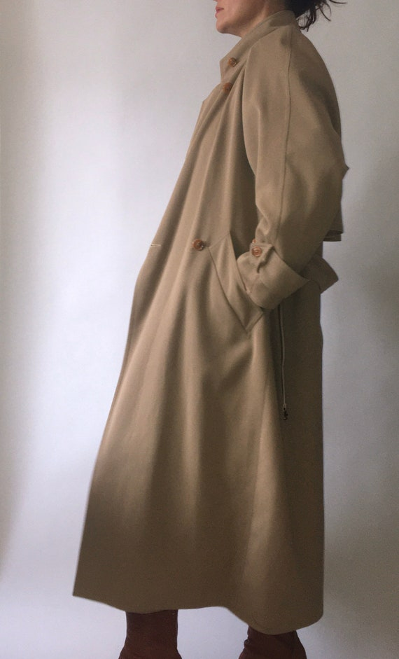 80s Wallis gaberdine angular belted trench coat 10 - image 9
