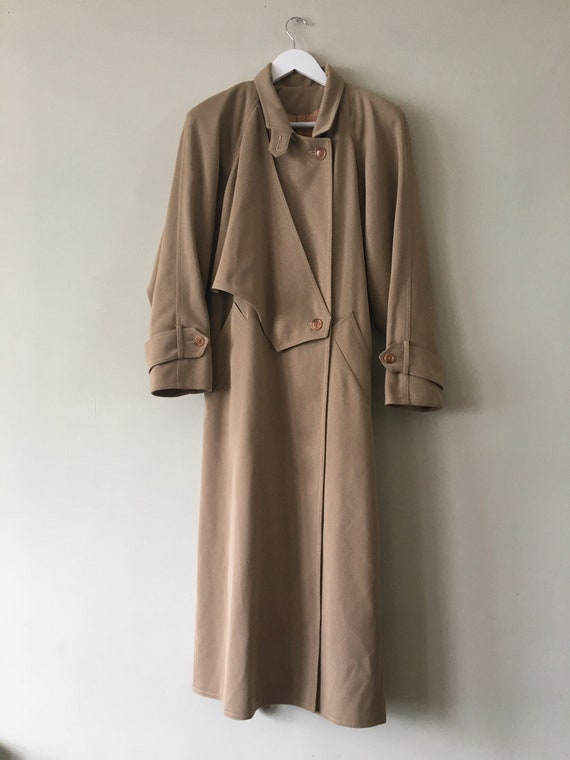 80s Wallis gaberdine angular belted trench coat 10 - image 3