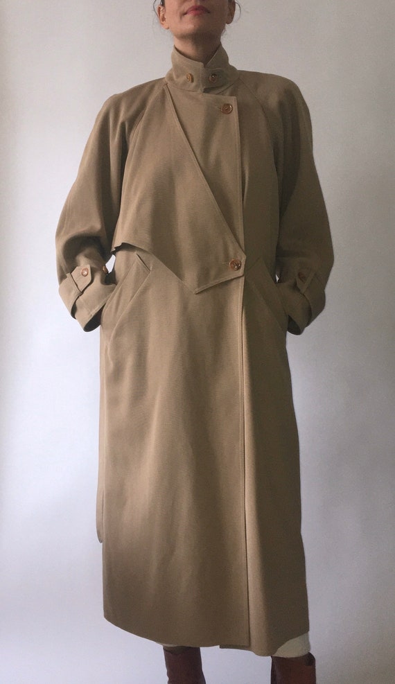 80s Wallis gaberdine angular belted trench coat 10 - image 6