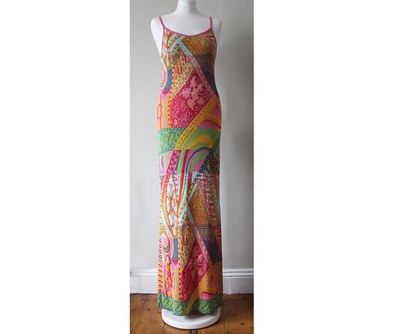 90s Kenzo jungle knitted intarsia maxi slip dress