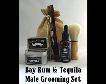 Bay Rum & Tequila Mens Grooming Set Fathers Day Teachers Present Scottish Gift Beard Shaving Soap Moustache Wax Shaving Facial Hair Glasgow