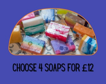 4 for 12 HANDMADE SOAP, Special Offer, Vegan Gift, SLS and Paraben Free, Handmade in Scotland by Glasgow Soap Company