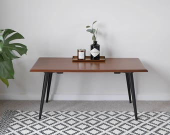 Mid Century Teak Coffee Table, Upcycled with Black Painted Tapered Legs. Vintage