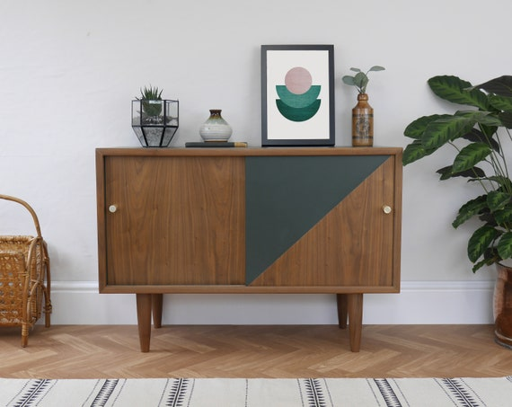 newest 3bba8 914b0 SOLD SOLD - Mid Century Storage Cabinet, Media Unit, TV Stand. Upcycled &  Painted Dark Green. Vintage Dark Wood