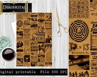 Vintage steampunk digital ephemera-Junk journal,ephemera digital,Vintage Printable Transfer Scrapbook,Steampunk paper,Victorian steampunk