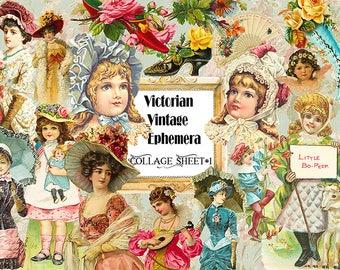 Victorian Vintage Ephemera Collage Sheet Instant Download,Vintage ephemera digital,Vintage Clipart,Vintage scrapbook embellishment