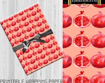The Pomegranate fruit digital paper,Printable WRAPPING PAPER,Pomegranate patterns,pink pomegranate,Wrapping Paper Printable,Scrapbooking