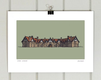 Mar Lodge A4 print | Braemar | Cairngorms | Illustration | Drawing