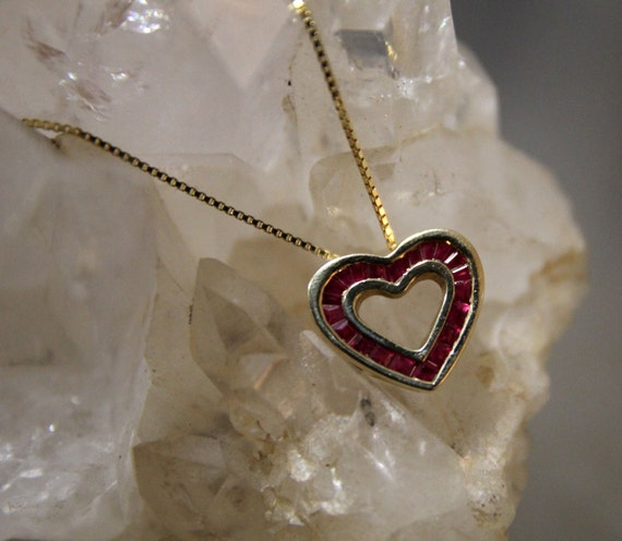 Ruby Heart Pendant Necklace, Ruby Heart Necklace,