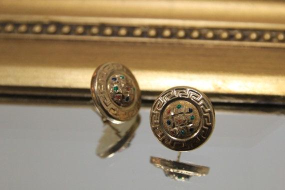 Vintage 14K Greek Key Button Earrings, Greek Keyho