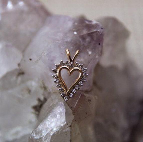 Vintage 10K Gold Diamond Open Heart Pendant, Diamo