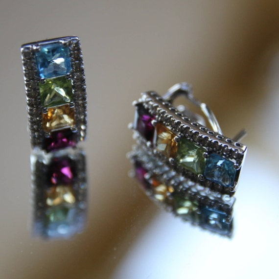 14K Gemstone Earrings, Multi-Gemstone Diamond Earr