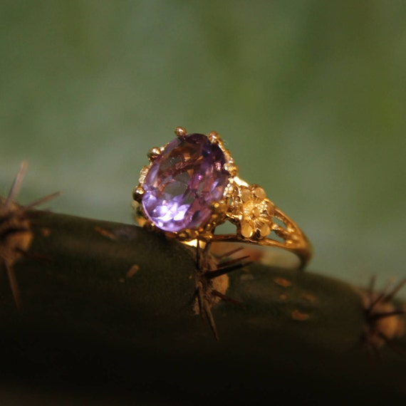 Amethyst Ring, Amethyst Ring Vintage, Purple Ameth