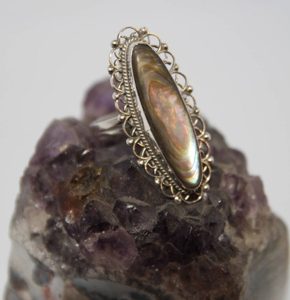 Vintage Sterling Silver Abalone Ring, Silver Abalo
