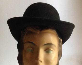 vintage black wool bowler hat   doe skin fedora   50 s felt bowler hat   womens  fedora   50s fashion   womens bowler hat ea435f1b67ef